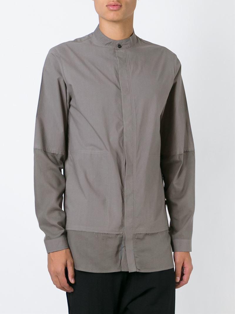 Silent damir doma mandarin collar frayed shirt in gray for Bear river workwear shirts