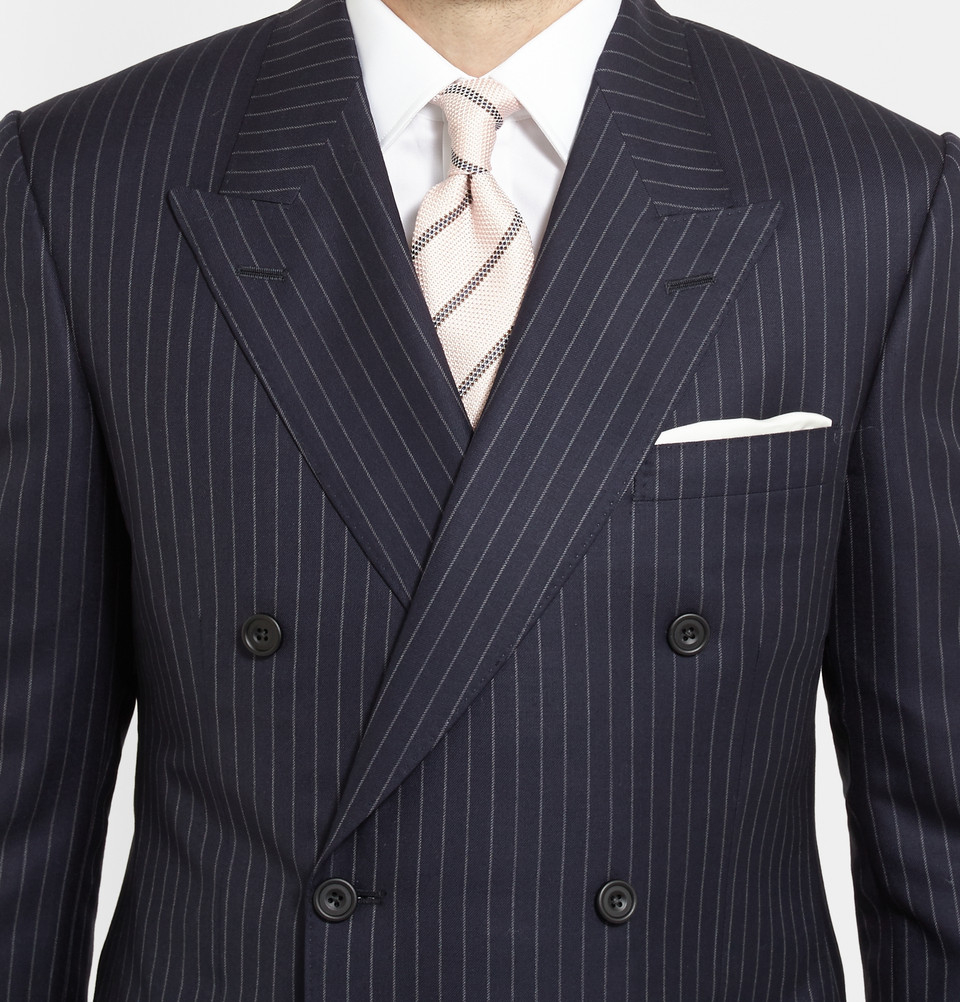 Kingsman Navy Double-Breasted Pinstripe Suit in Blue for Men | Lyst