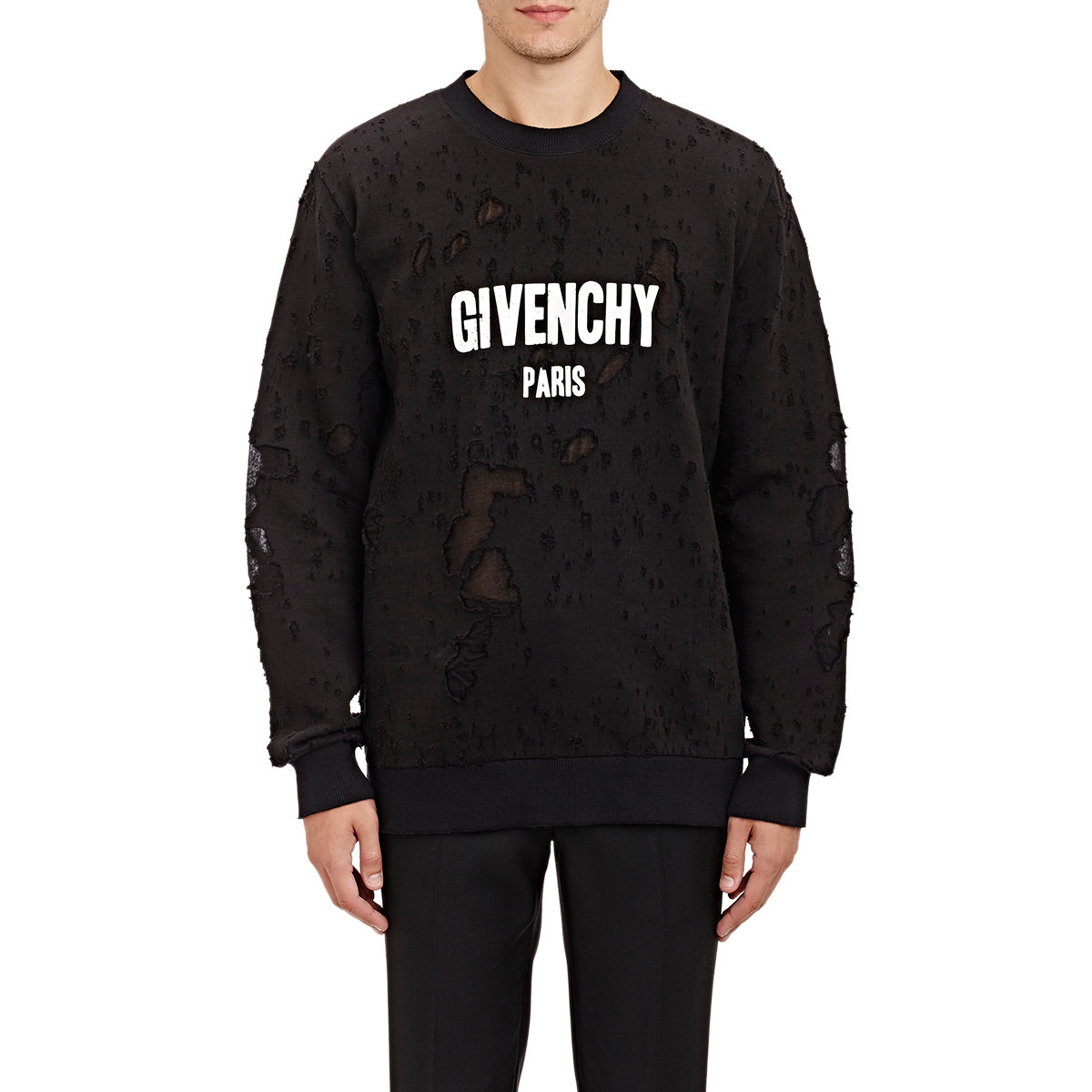 givenchy distressed double faced sweatshirt in black for. Black Bedroom Furniture Sets. Home Design Ideas