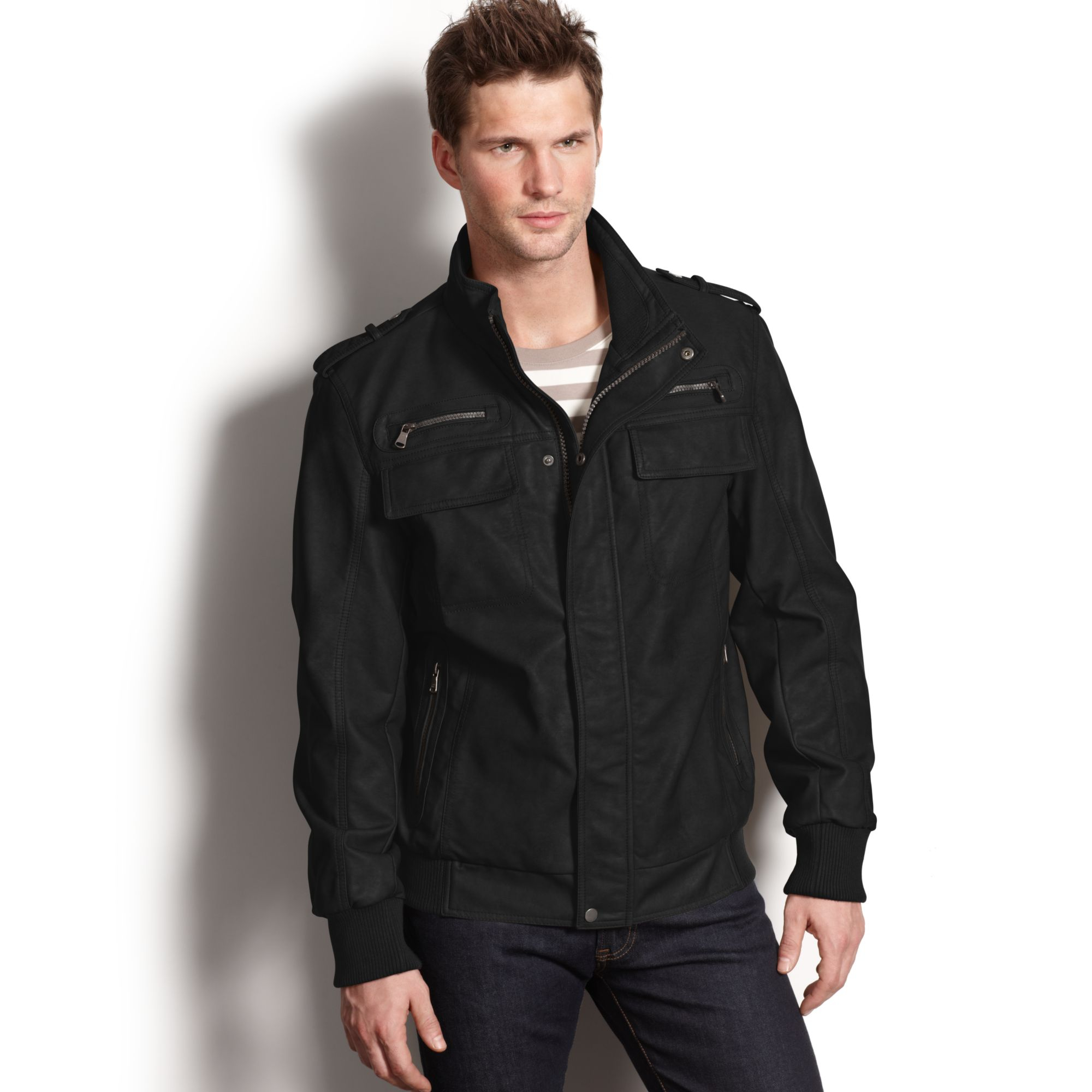 Calvin klein Lightweight Faux Leather Bomber Jacket in Black for