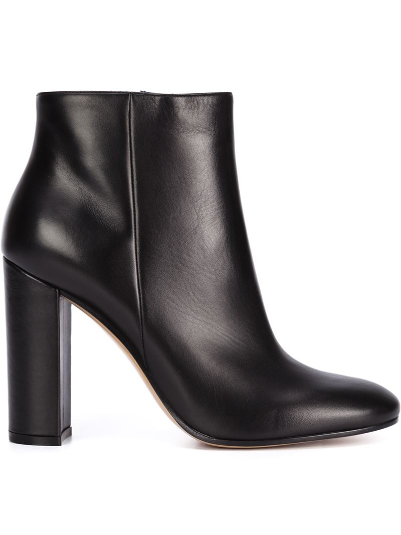 dacdd9455ae8 Lyst - Gianvito Rossi Chunky-Heel Leather Ankle Boots in Black