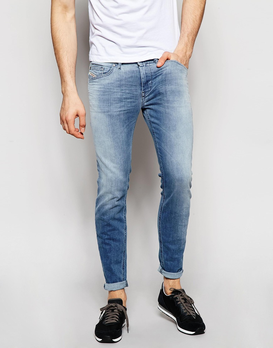 Diesel Jeans Stickker 850t Stretch Super Skinny Light Wash - Light Wash in Blue for Men | Lyst