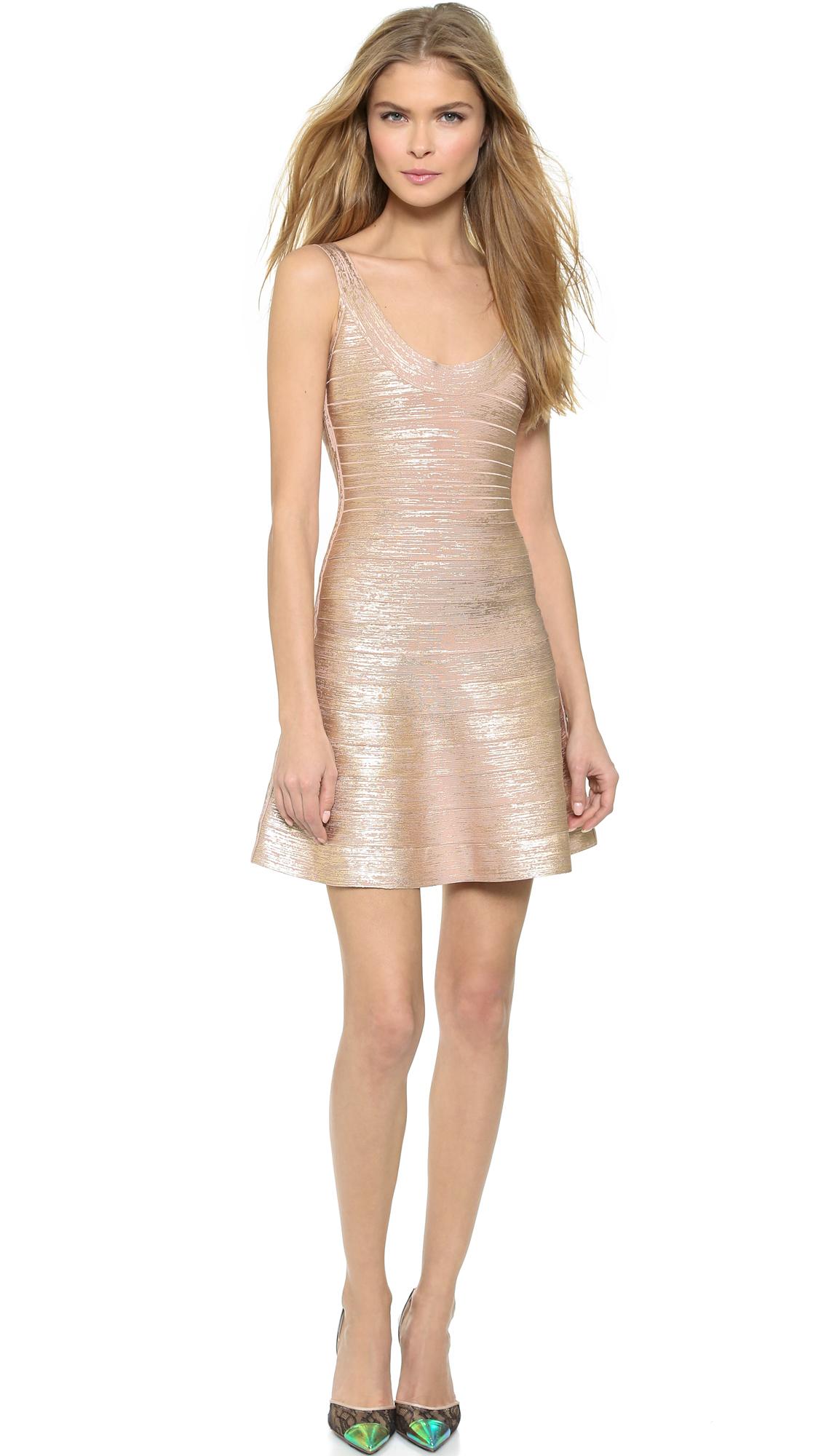 Hervé léger Sleeveless Dress in Pink (Rose Gold)   Lyst
