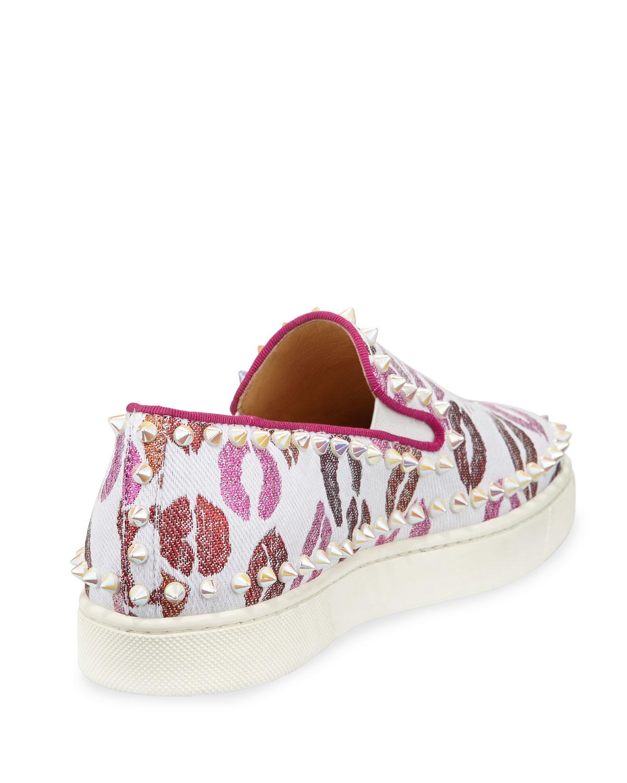 christian louboutin replica mens shoes - Christian louboutin Pik Boat Woman Lip-print Sneaker in Pink ...