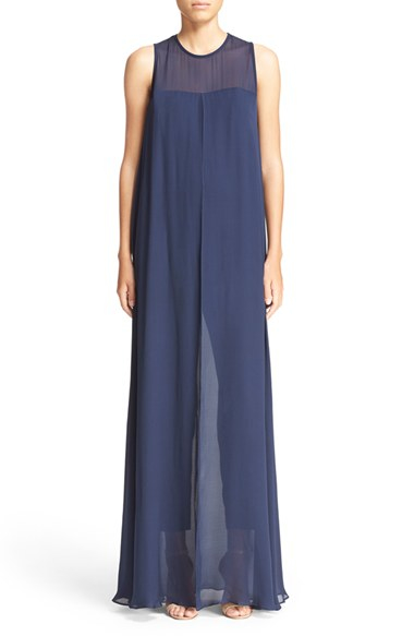Lyst Trina Turk Siriana Sheer Overlay Jumpsuit In Blue