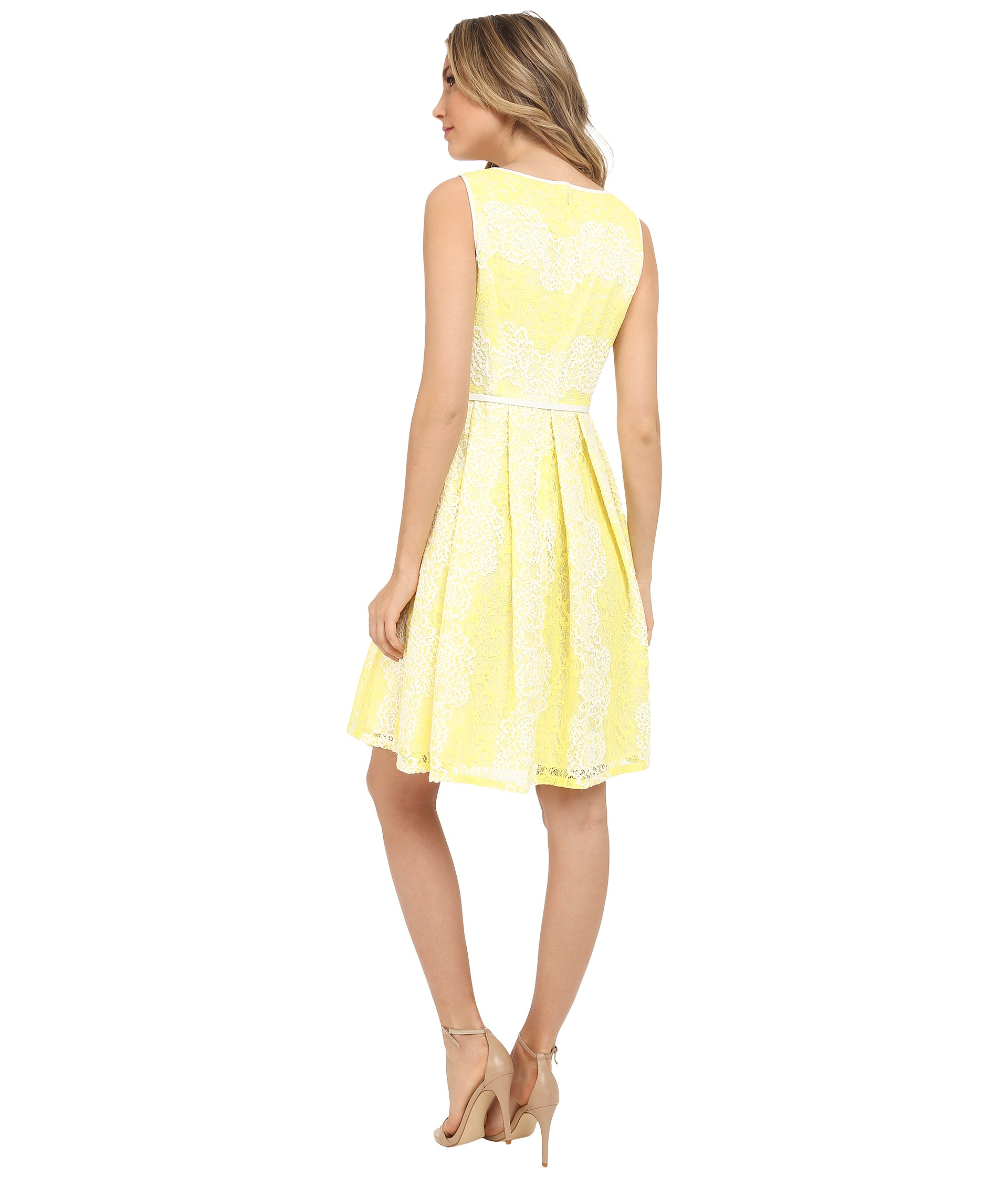 Adrianna Papell Fit Amp Flare Lace Dress In Yellow Lyst