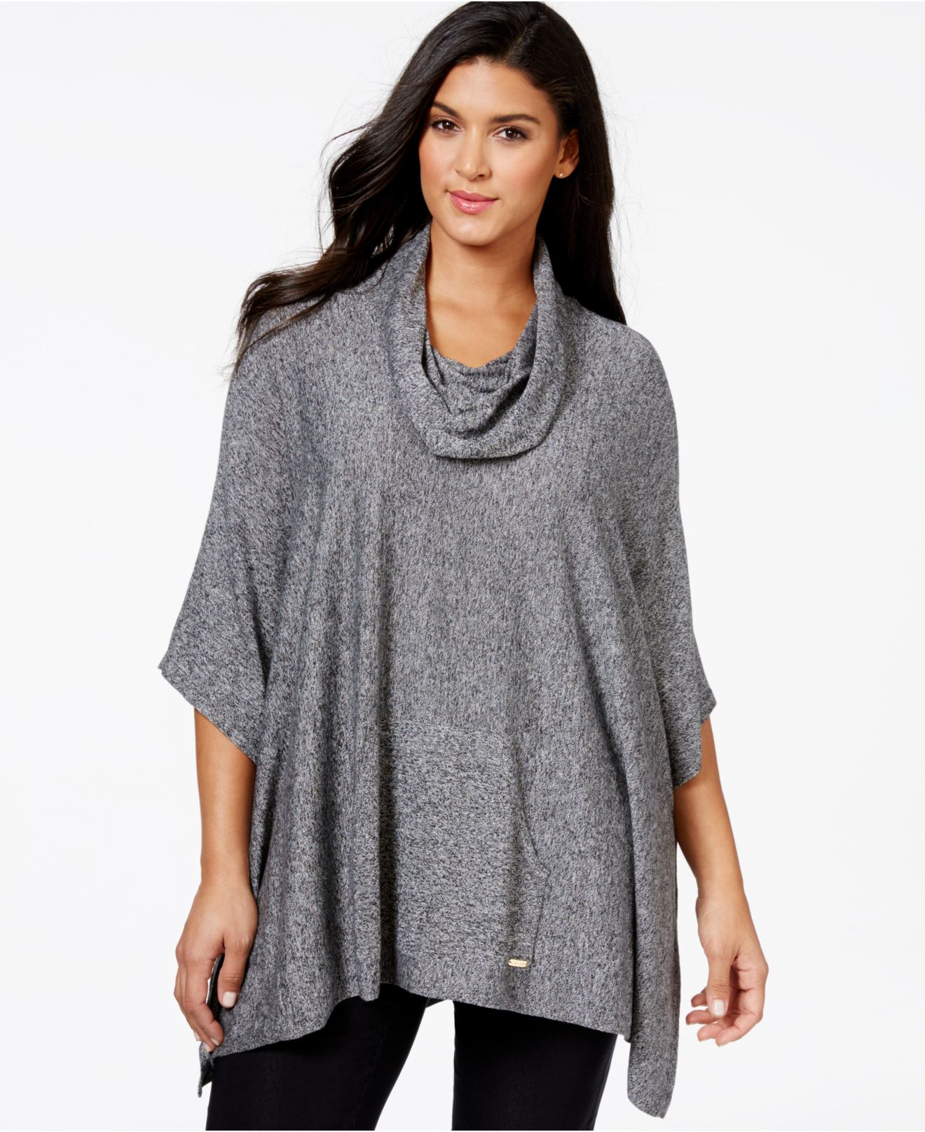 21e0d553d2 Calvin Klein Plus Size Marled Cowl-neck Poncho Sweater in Gray - Lyst