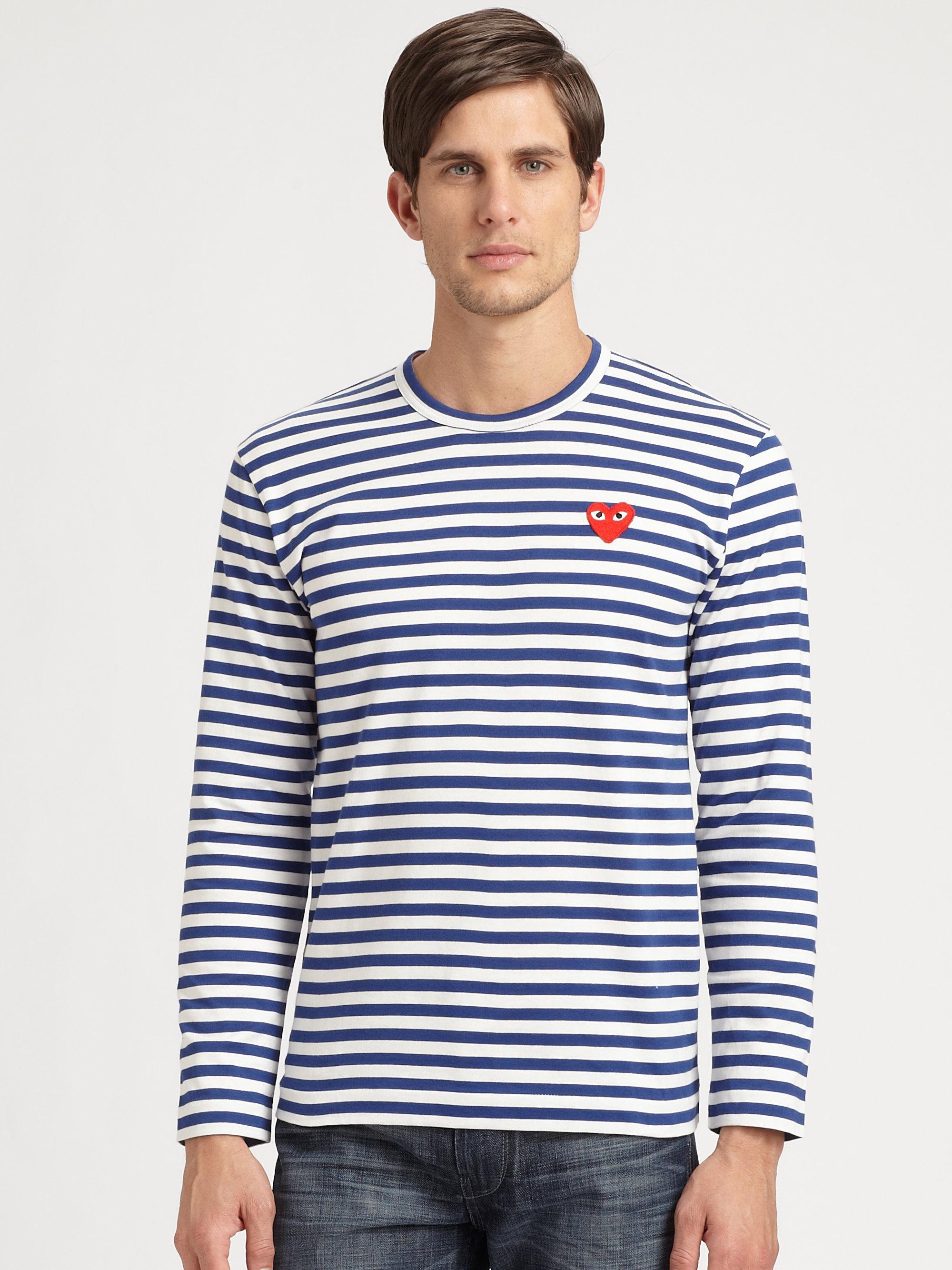 8d562ba25c8c2 Lyst - Play Comme des Garçons Striped Cotton Shirt in Blue for Men