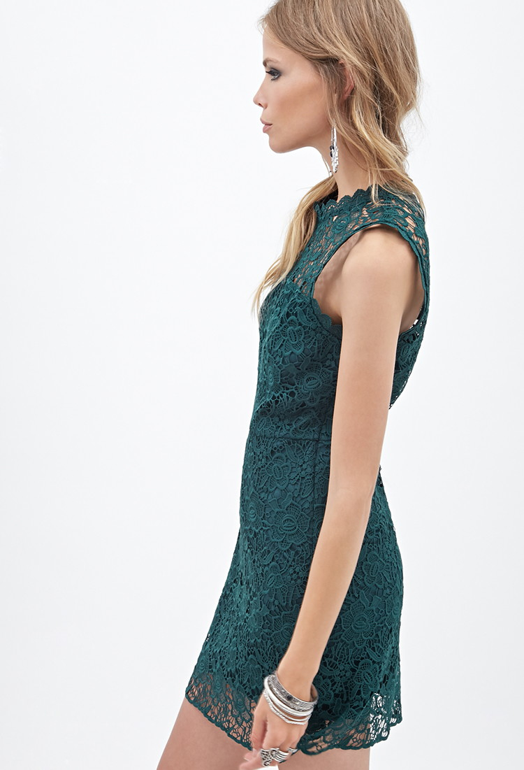 Forever 21 Floral Lace Dress in Green | Lyst