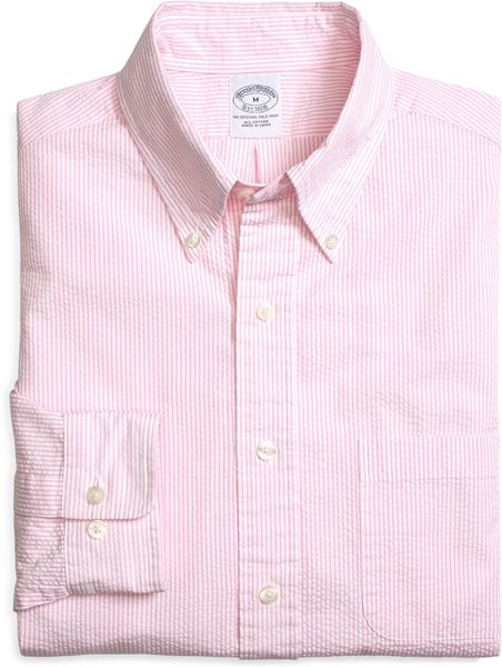 Brooks brothers slim fit seersucker candy stripe sport for Brooks brothers dress shirt fit guide