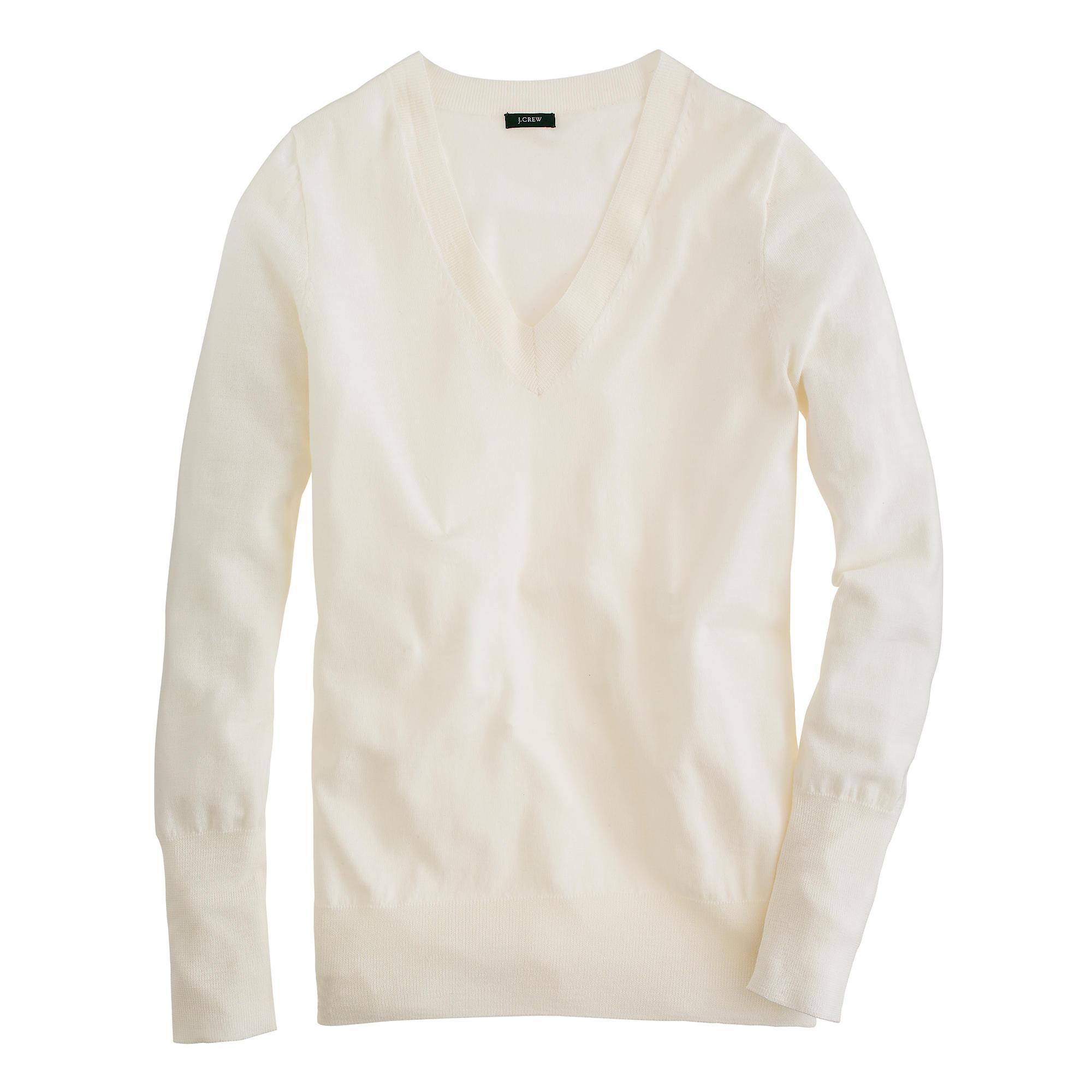 Lyst - J.Crew Merino Wool V-neck Sweater in White 54e8ee9cda
