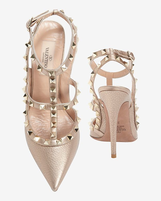 d1be804e75fd Lyst - Valentino  rockstud  Caged Metallic Leather Pumps in Metallic