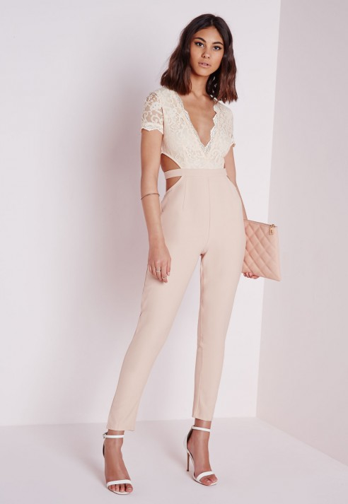 203662ea01f Lyst - Missguided Nude Lace Top Cut Out Jumpsuit in Natural
