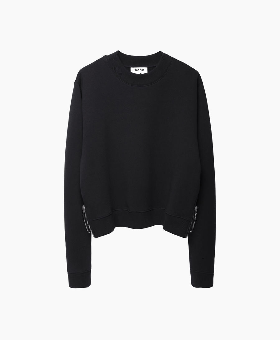 acne studios bird fleece cropped pullover in black lyst. Black Bedroom Furniture Sets. Home Design Ideas