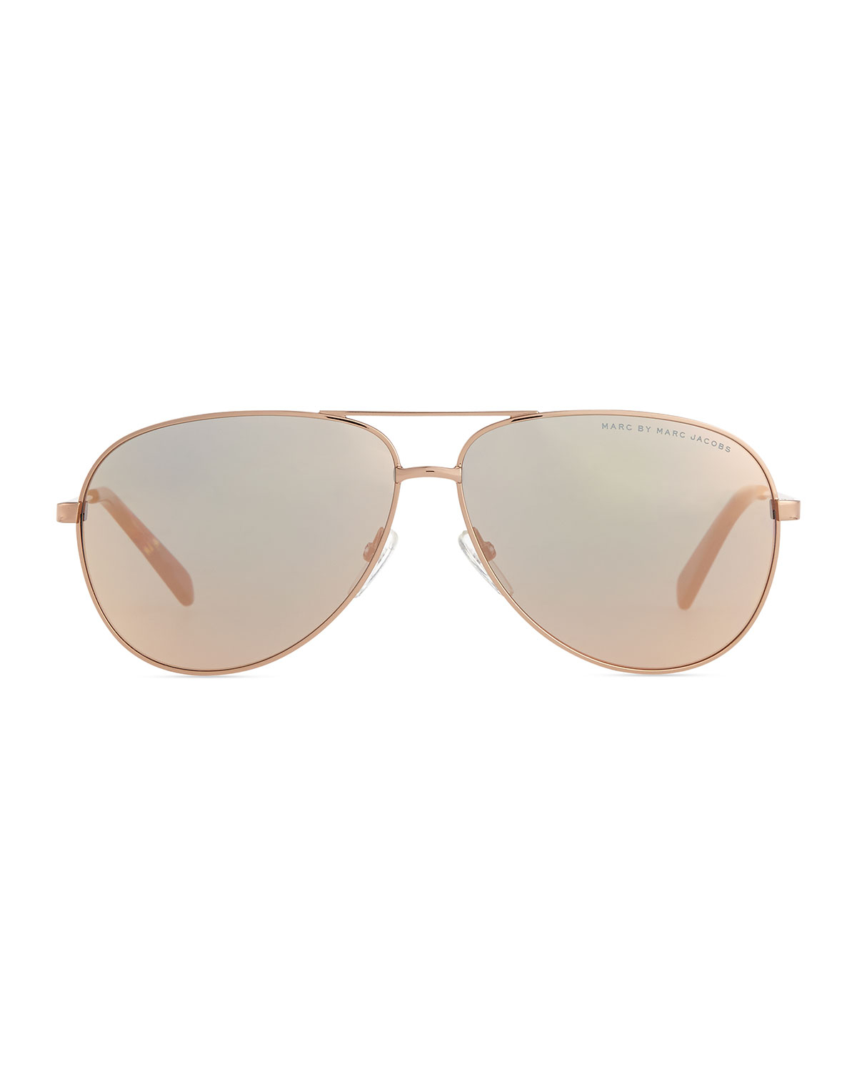 Marc by marc jacobs rose golden aviator sunglasses with for Mirror sunglasses