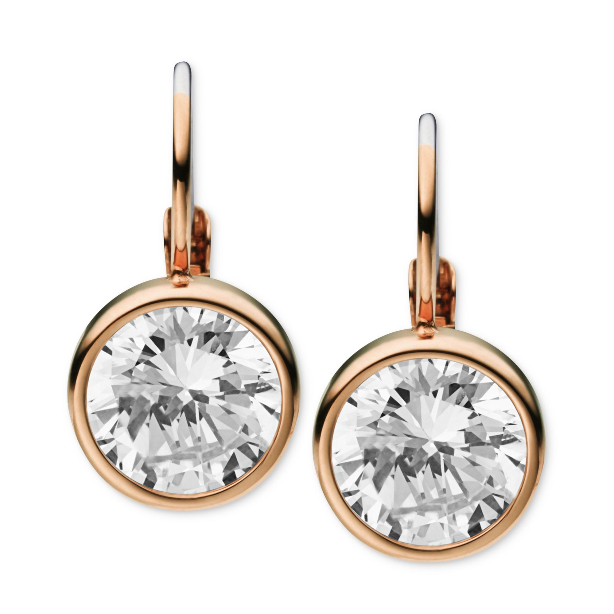 Michael Kors Rose Goldtone Clear Stone Leverback Earrings ...