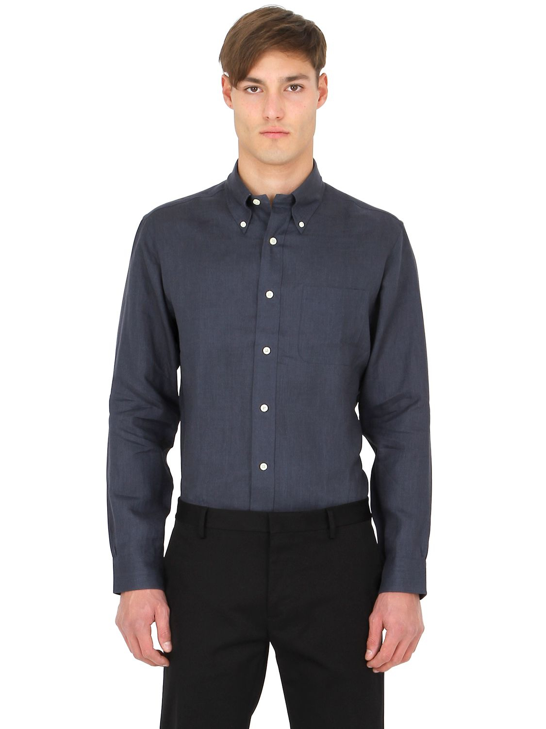 Brooks brothers extra slim button down linen shirt in blue for Slim button down shirt