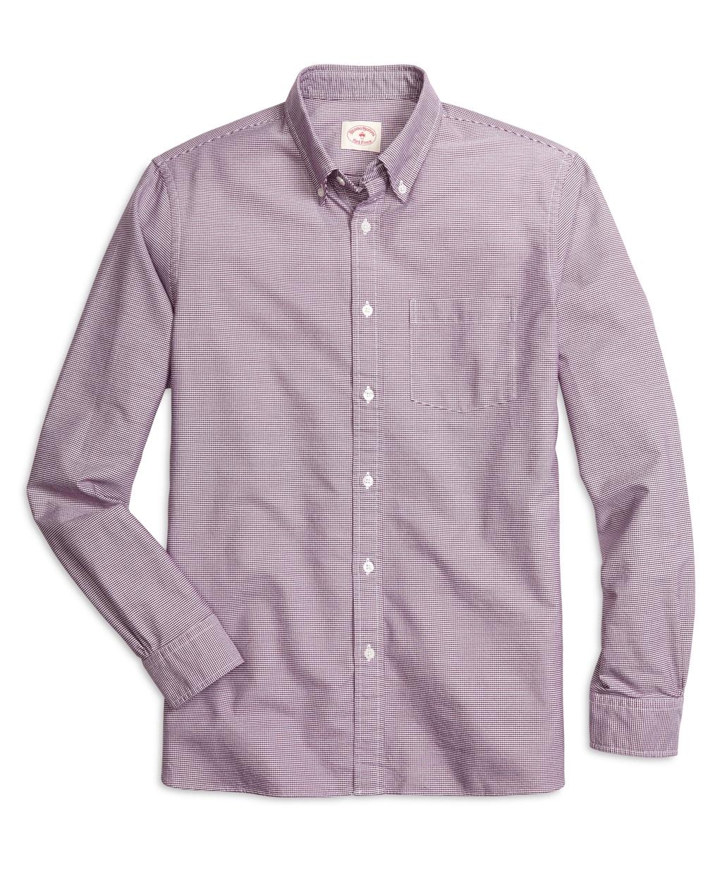 Brooks brothers supima cotton check sport shirt in purple for Brooks brothers sports shirts