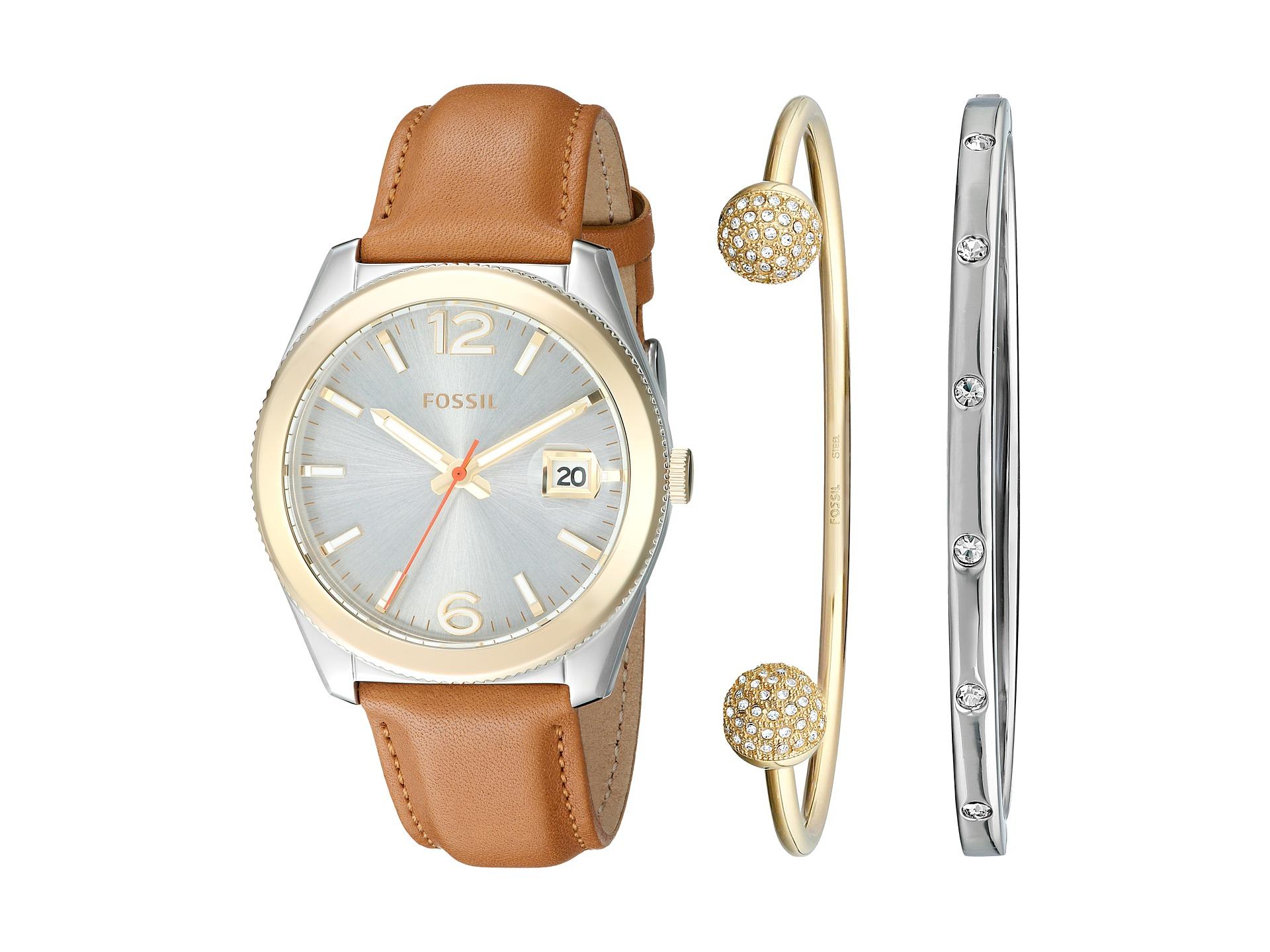 Boyfriend Bracelet Watch Photos Fossil Perfect Es4093 Blue Navy Lyst Leather And Set