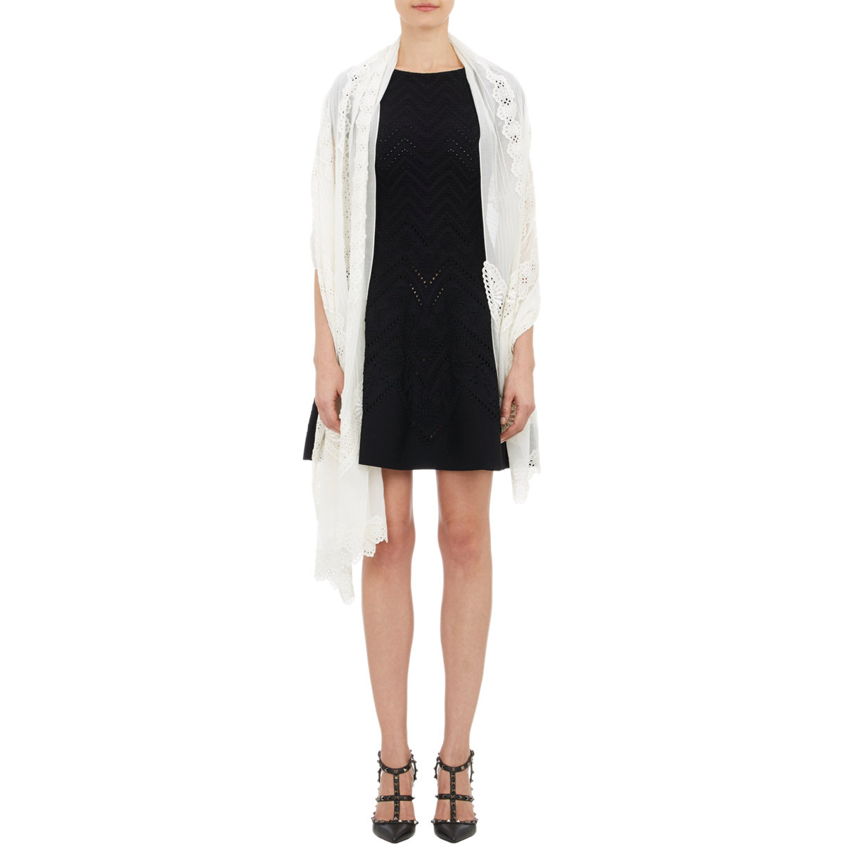 Lyst Valentino Pintuck Amp Eyelet Stole In White