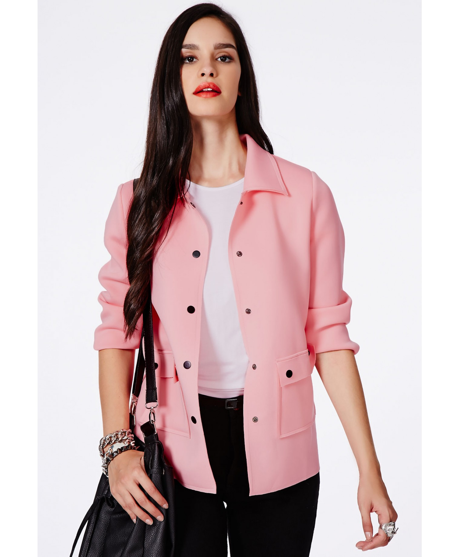 Missguided Eevi Baby Pink Scuba Tailored Jacket With Pocket Detail ...
