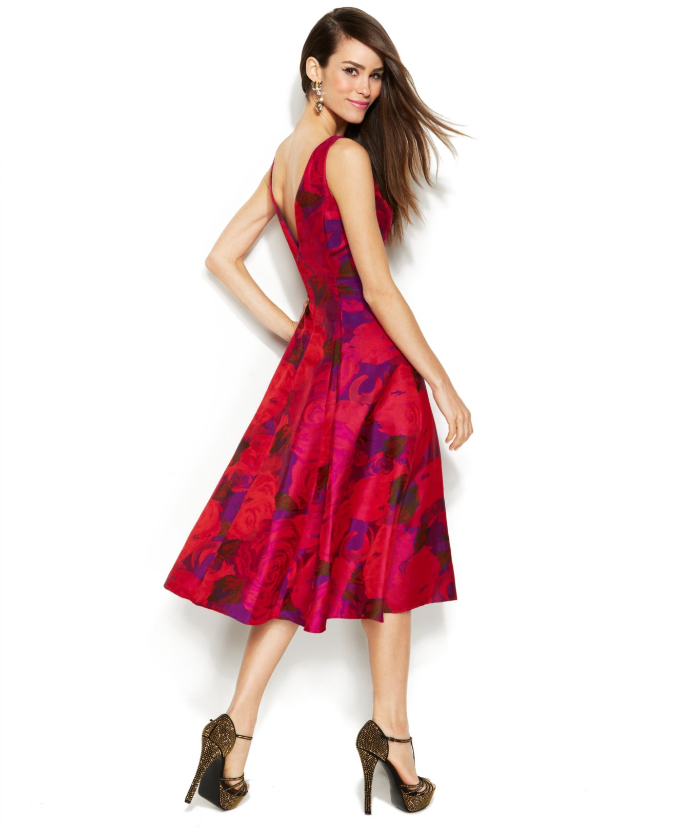 Lyst Adrianna Papell Sleeveless Rose Print Midi Dress In Red