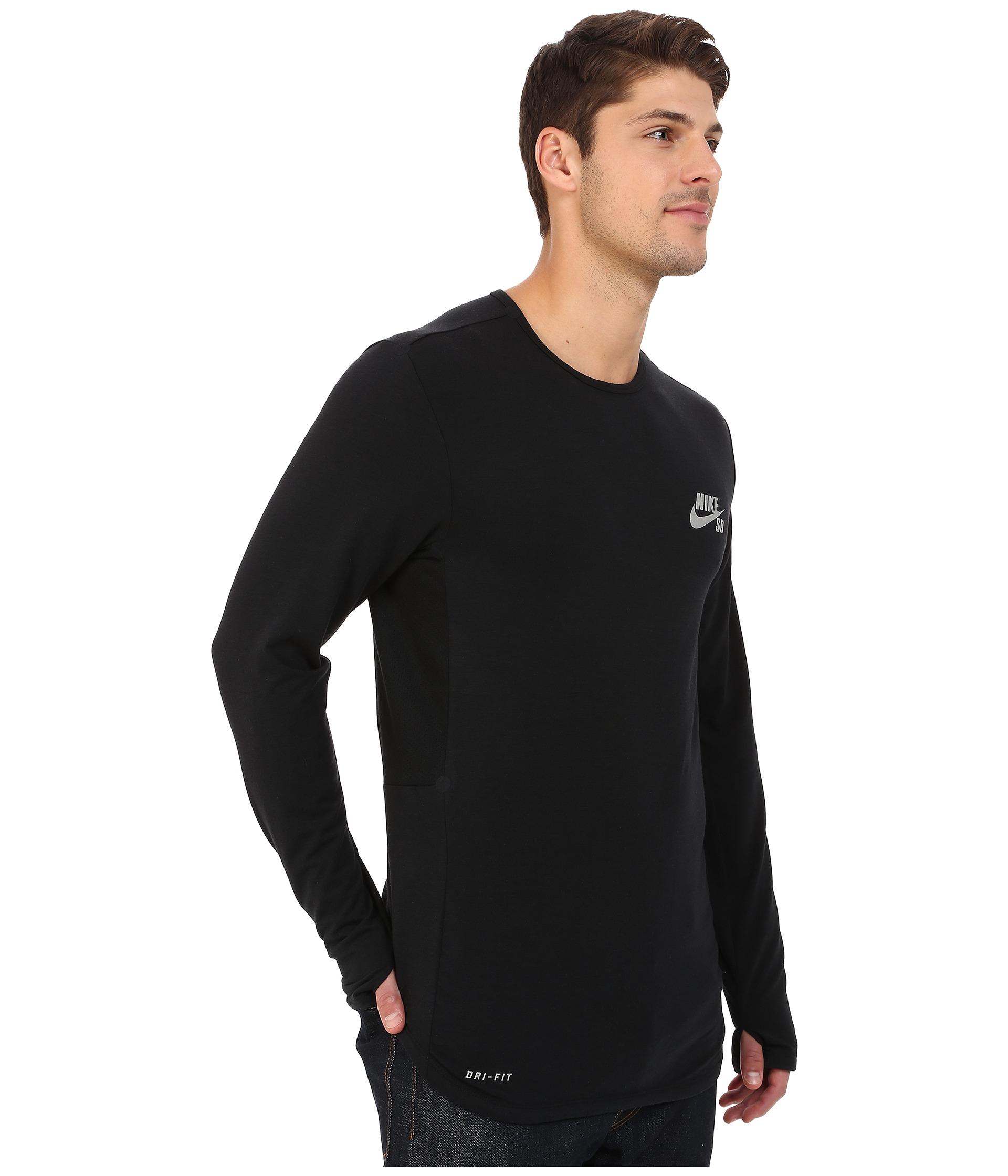 35e6bef1 Nike Sb Skyline Dri-fit™ Cool Long Sleeve Crew in Black for Men - Lyst