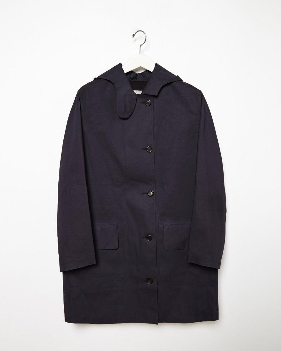 Margaret howell hooded mac coat in blue navy lyst