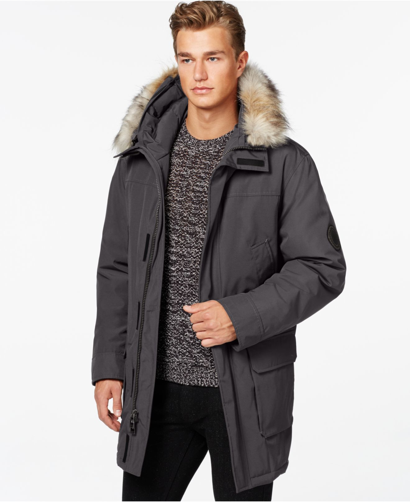 Calvin klein Big & Tall Faux-fur Hooded Jacket in Gray for Men | Lyst