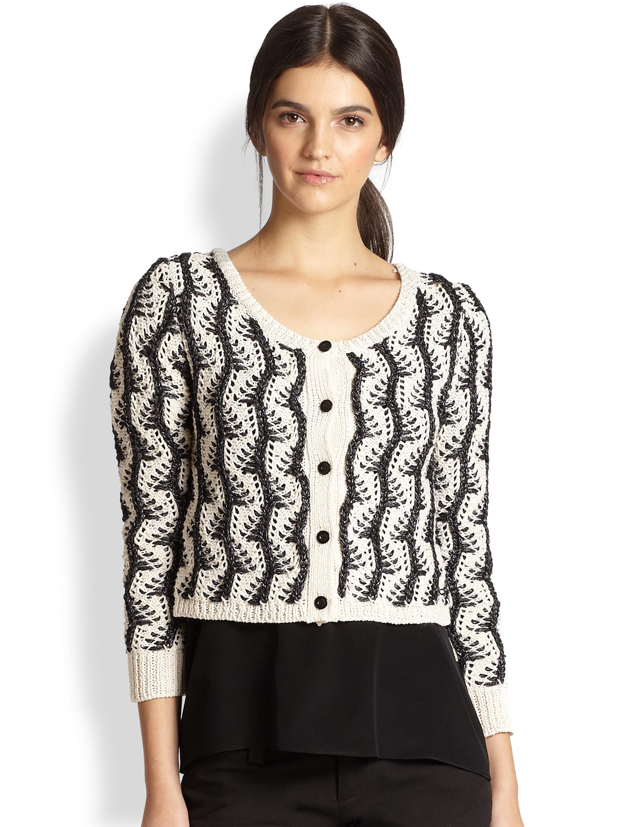 Alice   olivia Georgia Vine Knit Cropped Cardigan Sweater in Black ...
