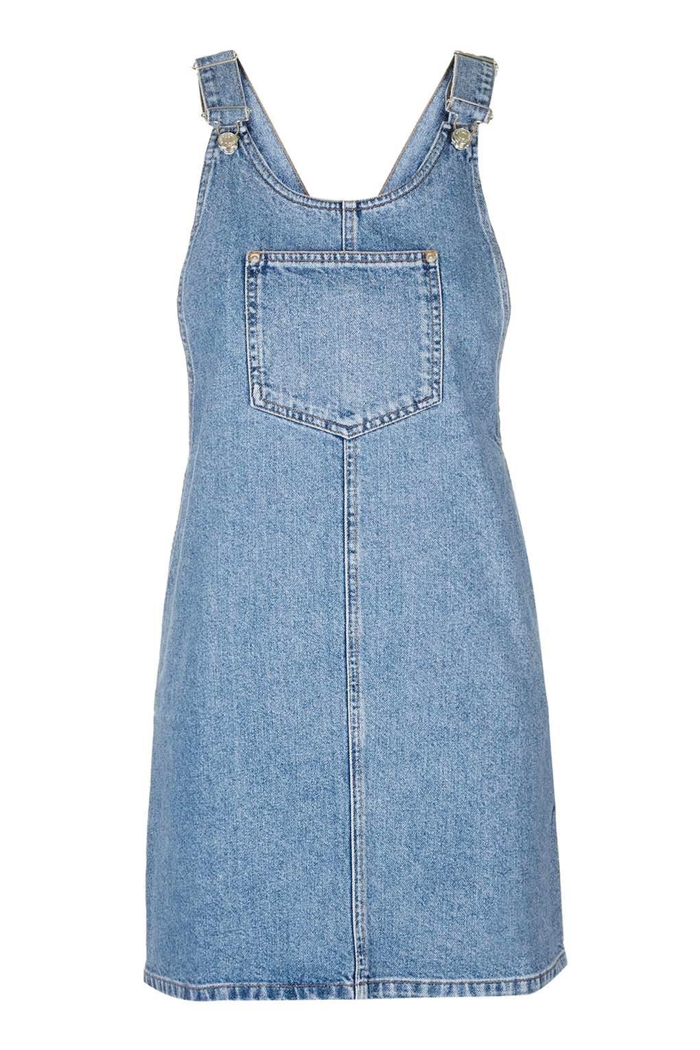 Topshop petite square neck denim pinafore in blue lyst for Womens denim shirts topshop