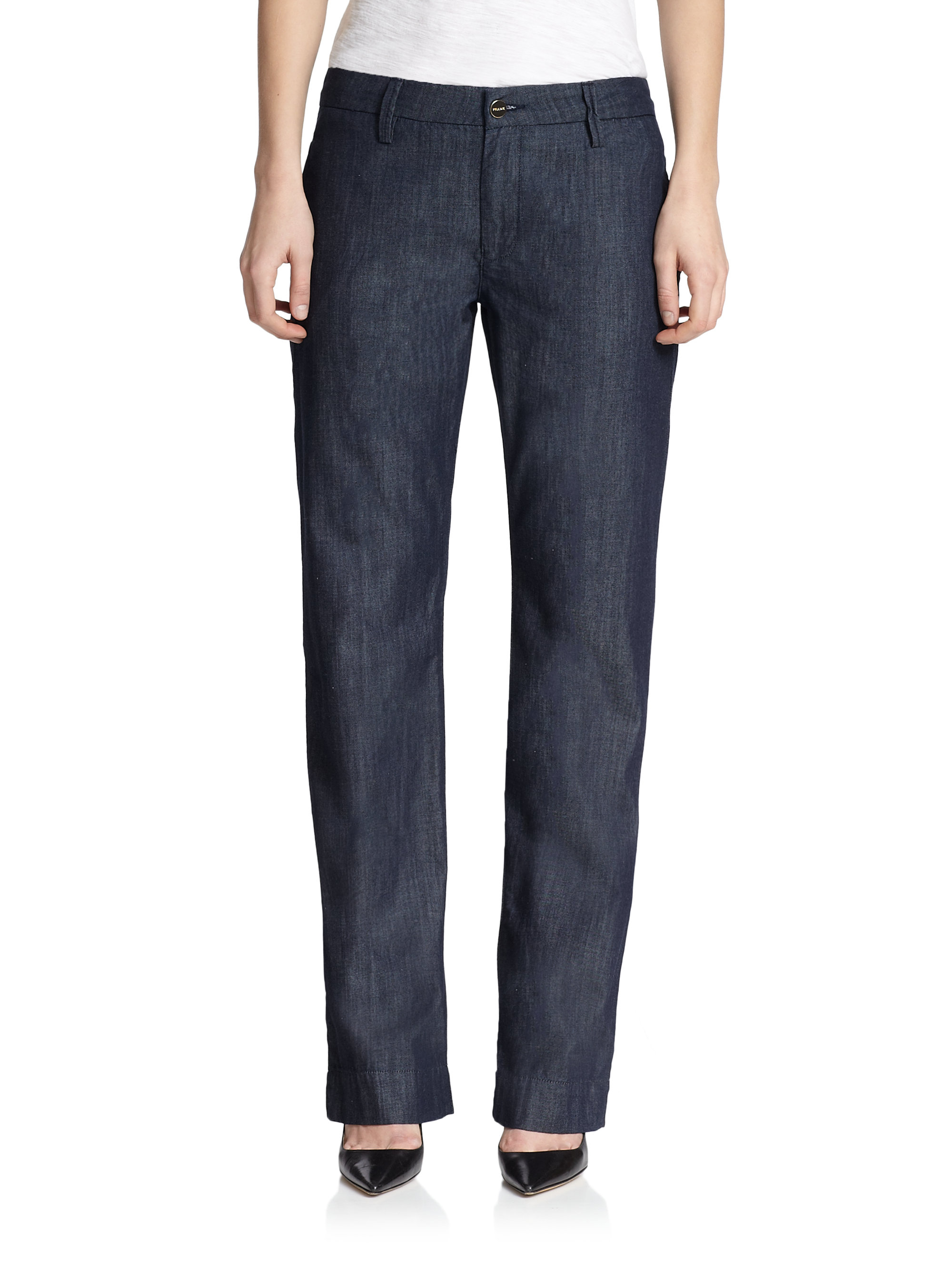 lyst frame le straight leg chambray pants in blue for men