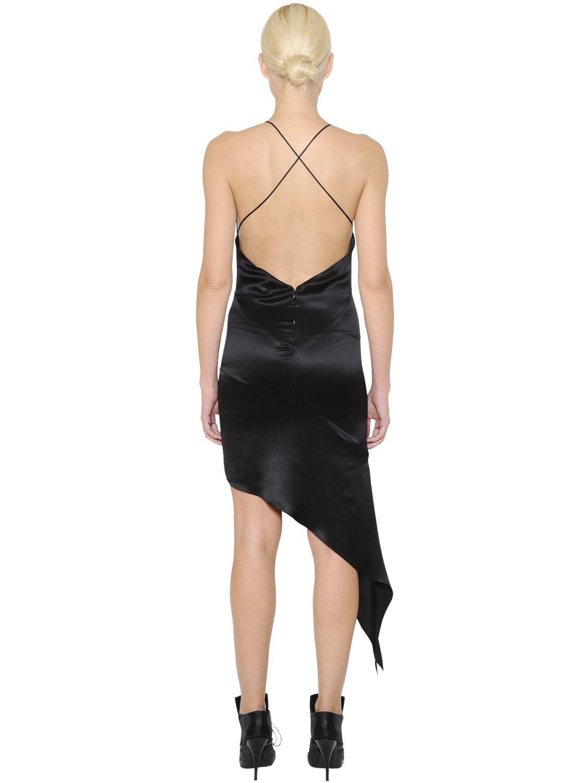 ff2606d92afb Givenchy Asymmetrical Silk Satin Slip Dress in Black - Lyst