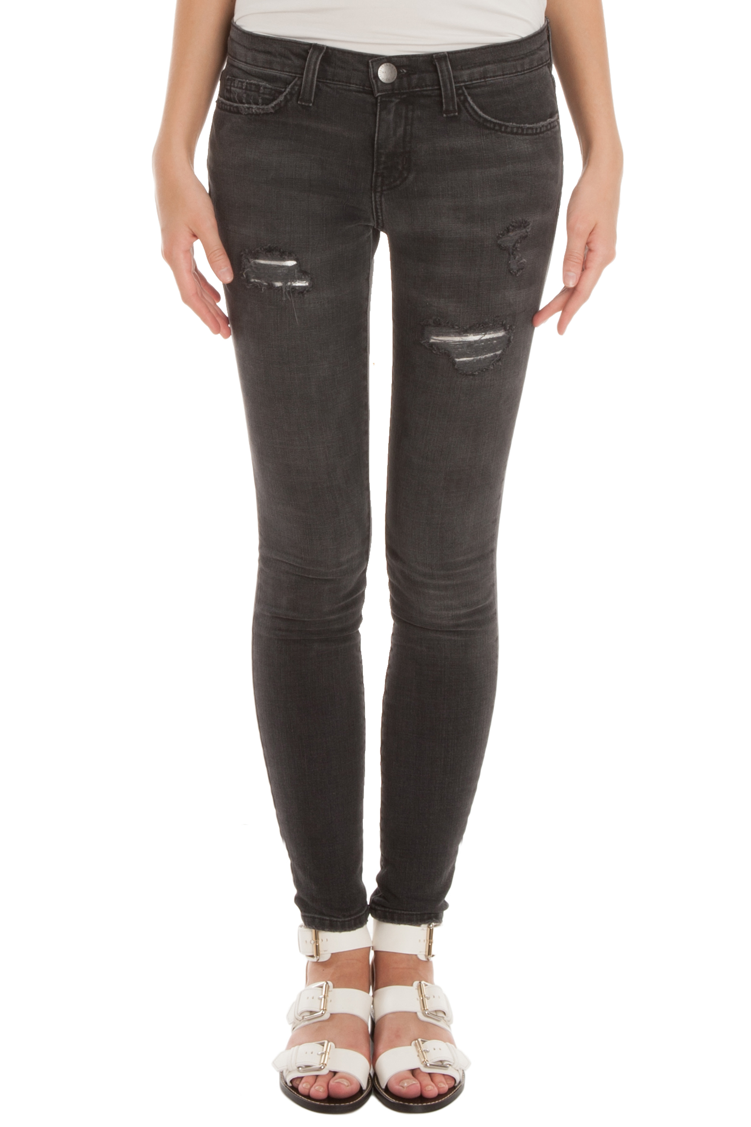 Current/elliott The Ankle Skinny Jeans in Gray