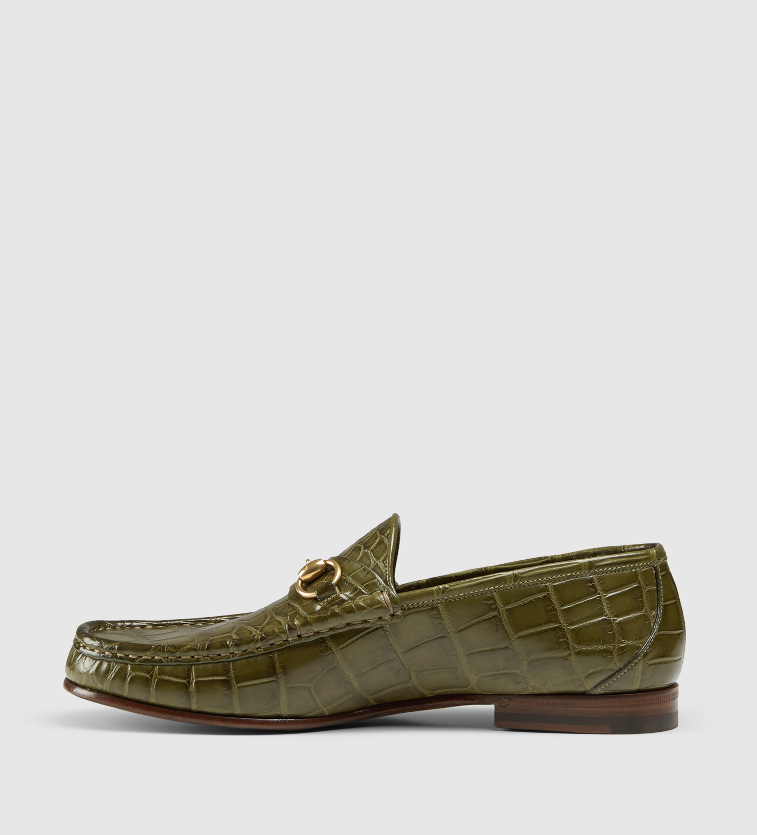 37c061c7f Gucci Men's Crocodile 1953 Horsebit Loafer in Green for Men - Lyst