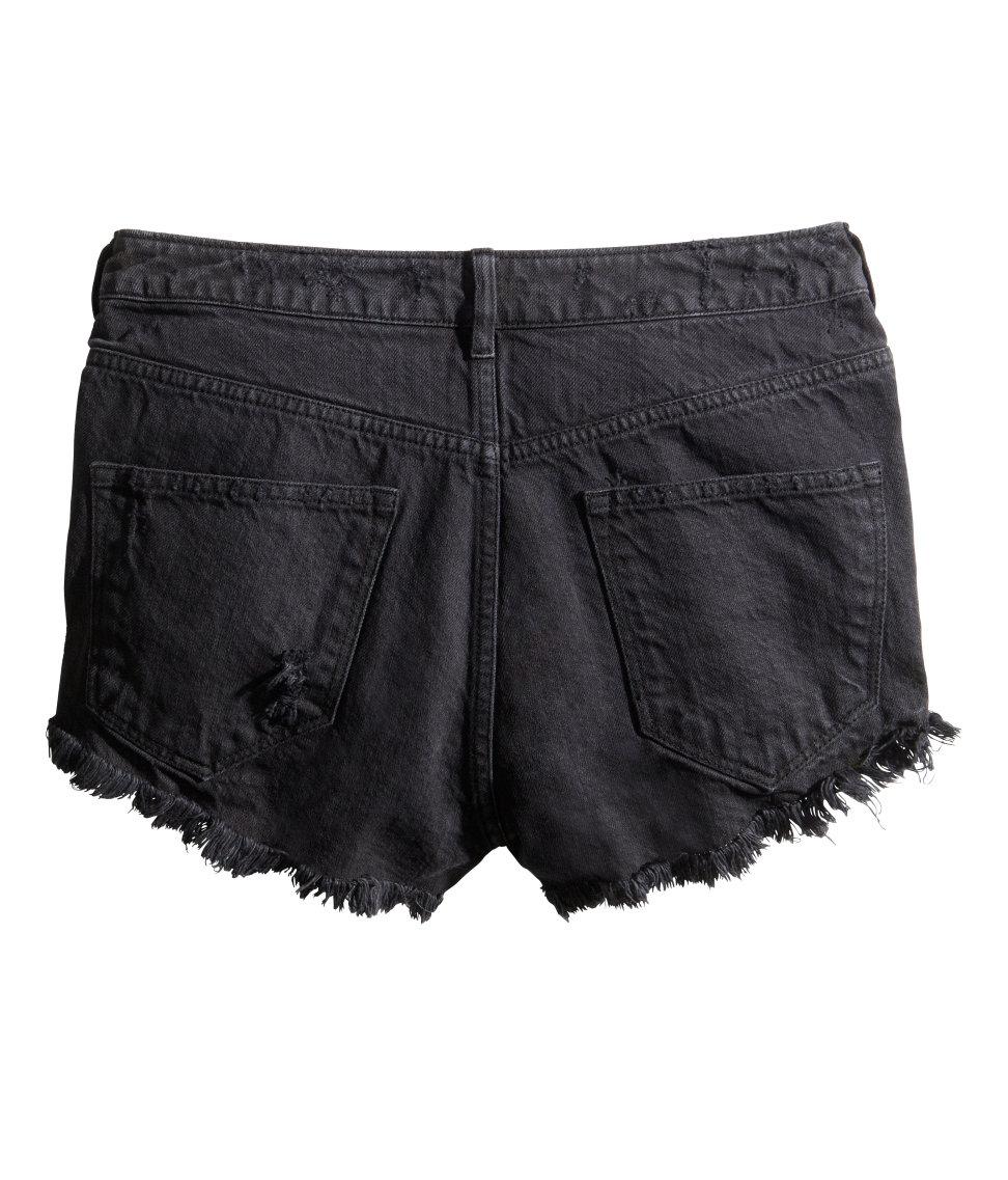 Hu0026m Worn Denim Shorts in Black | Lyst