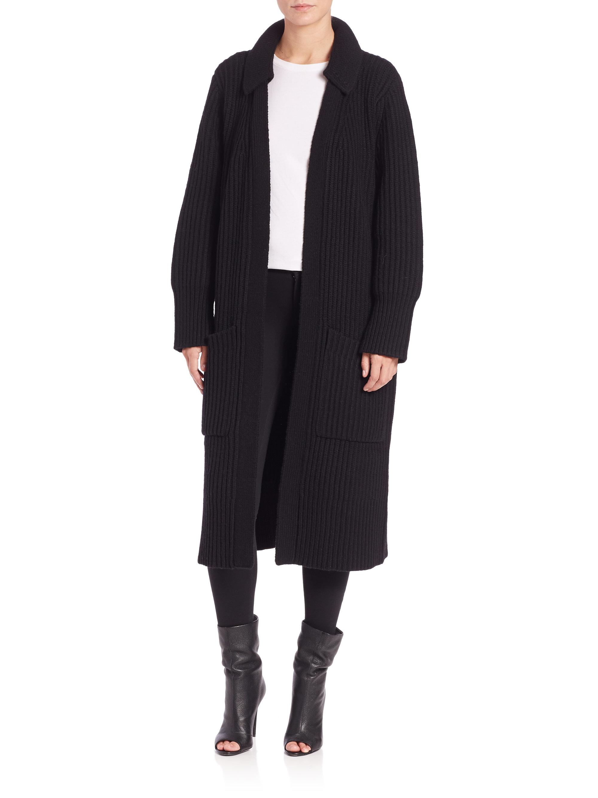 Burberry brit Long Coat Cardigan in Black | Lyst
