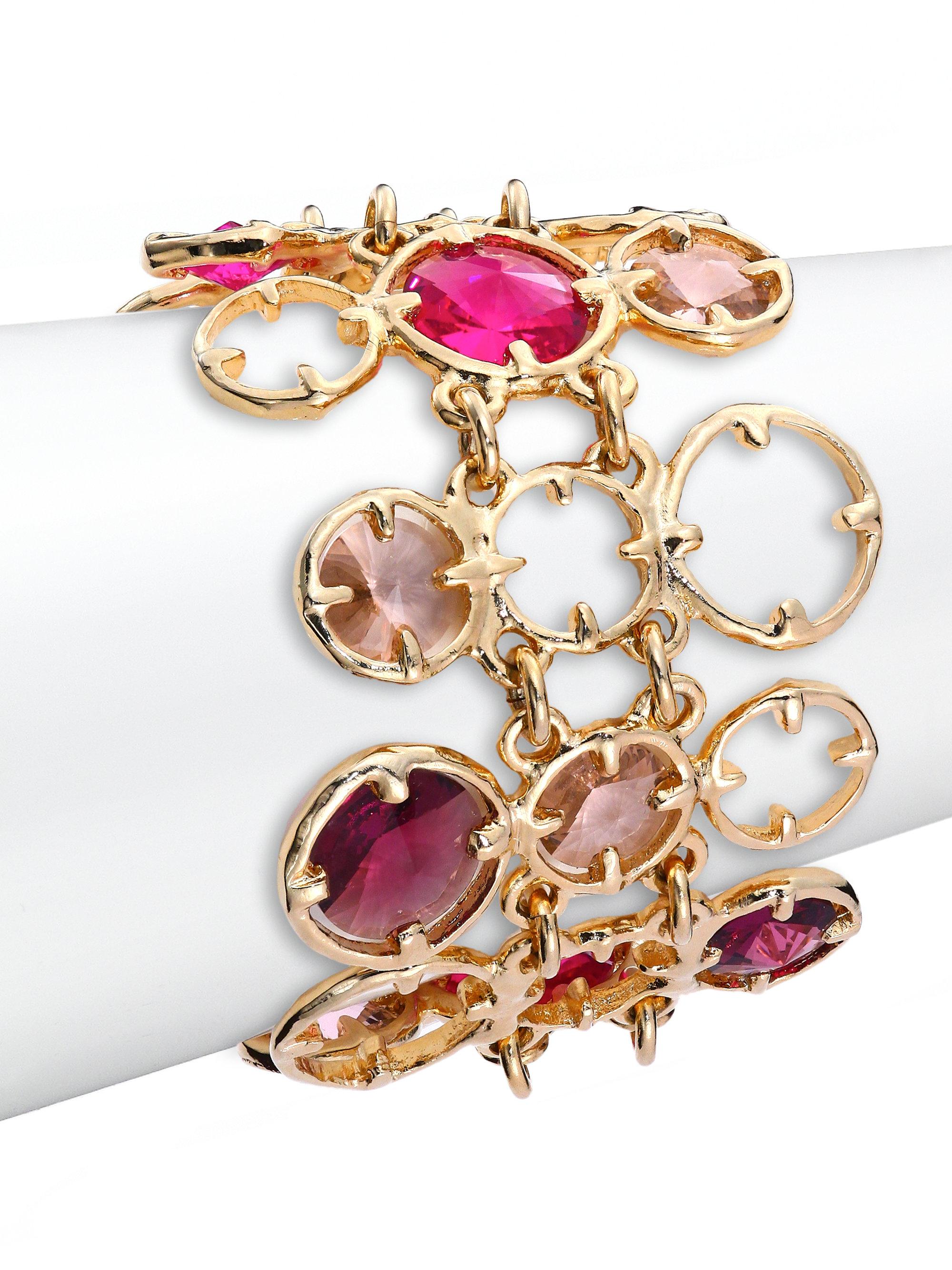 Lyst - Oscar De La Renta Frame Crystal Bracelet in Pink