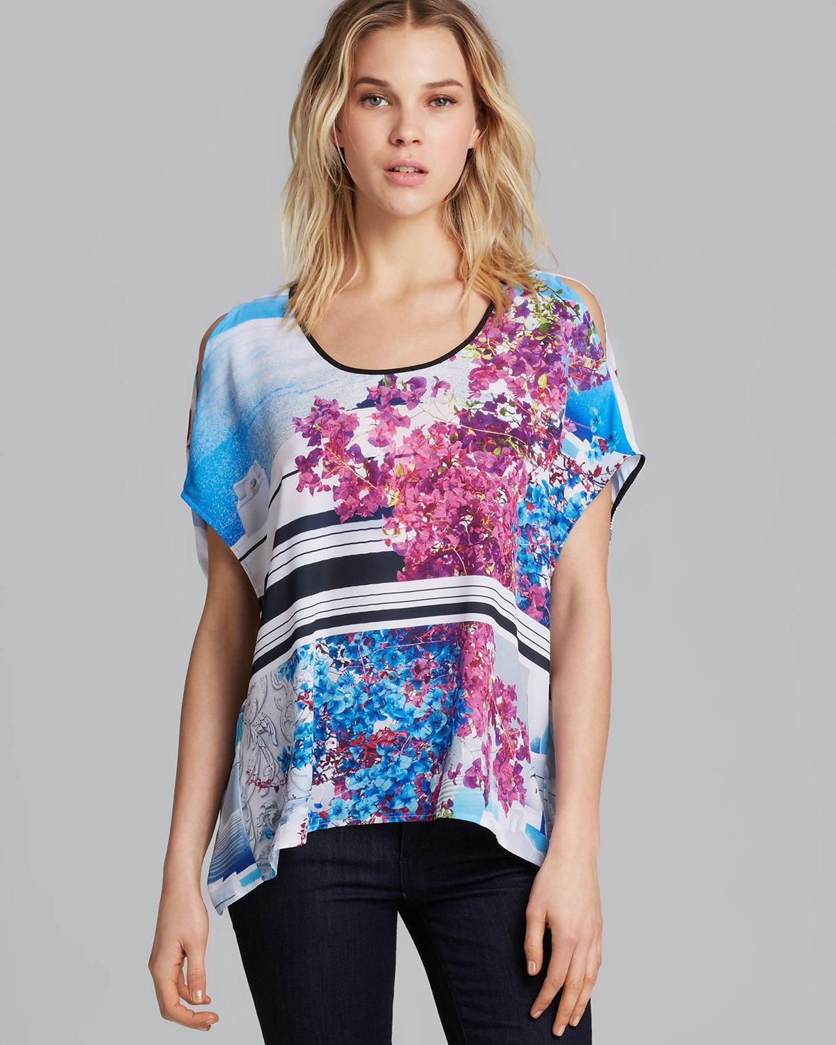 9addb207a11dc1 Lyst - Clover Canyon Top Santorini Stripe Cold Shoulder in Blue