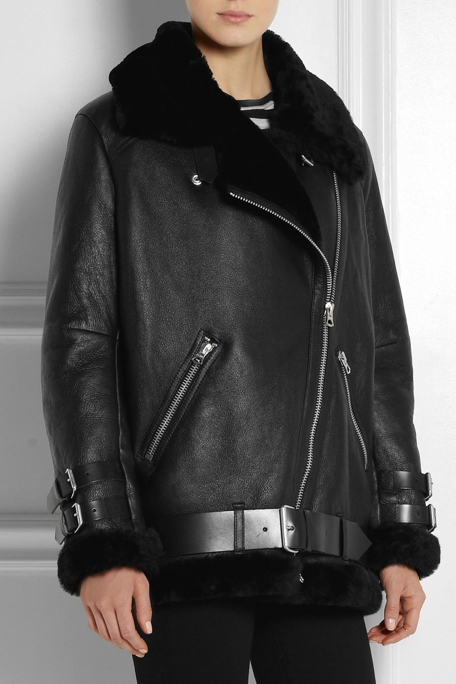 56e0d5c8b1369 Acne Studios Velocite Oversized Shearling Biker Jacket in Black - Lyst