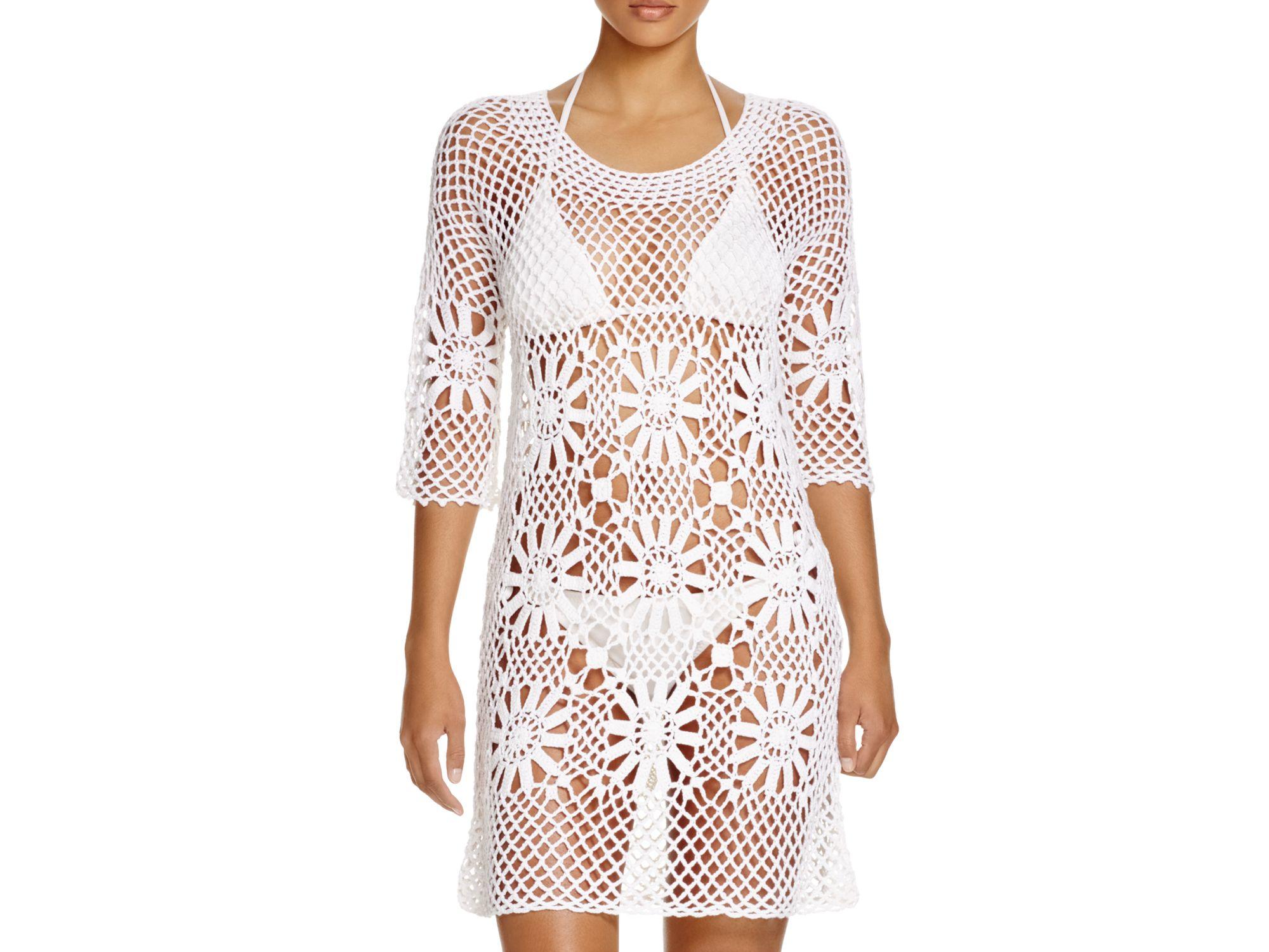 9839ae205198d Lyst - J Valdi Crochet Flower Tunic Swim Cover Up in White