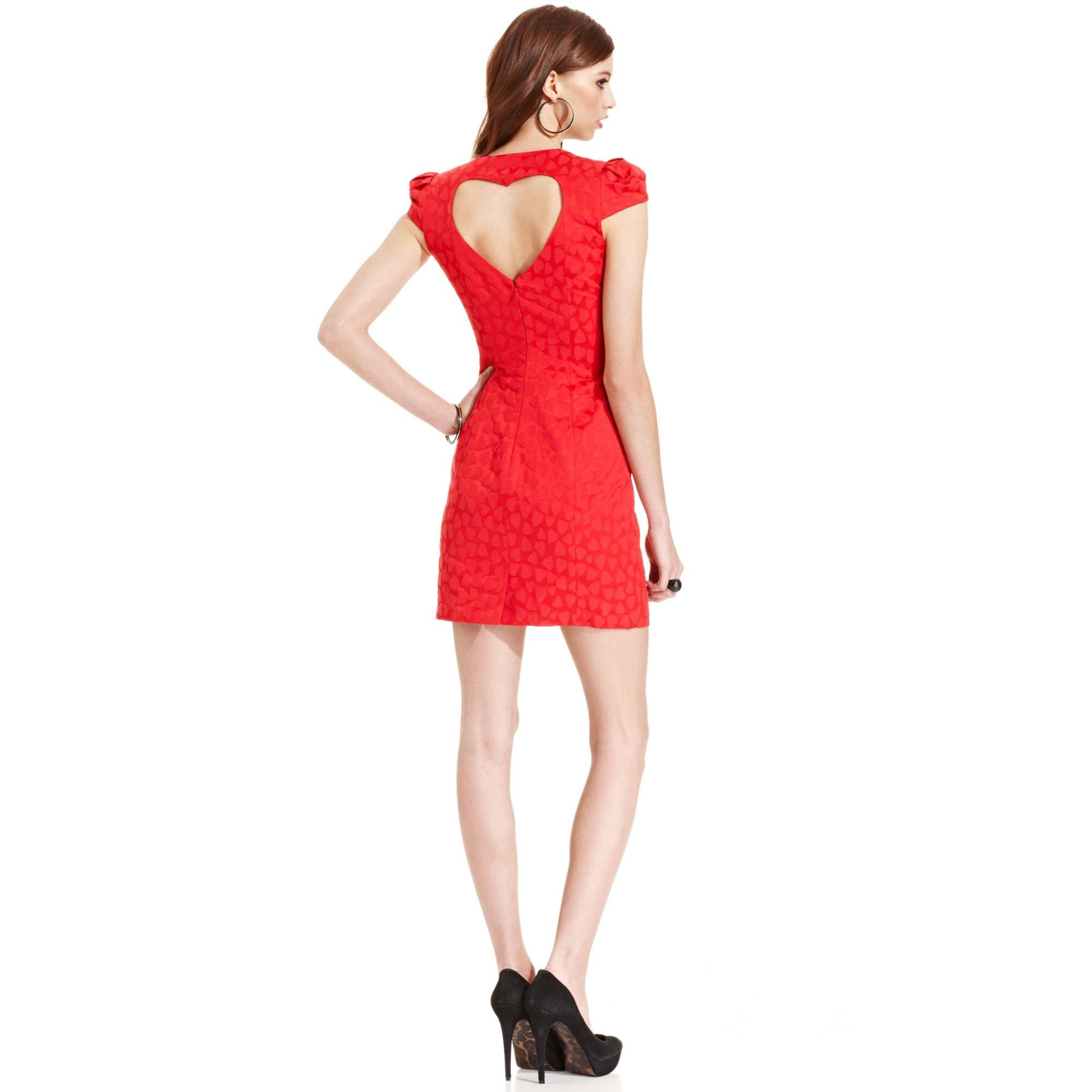 Guess Heart Cutout Dress in Red - Lyst