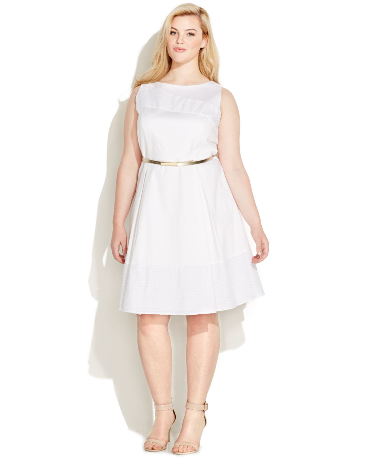 Calvin klein Plus Size Eyelet Belted A-line Dress in White - Lyst