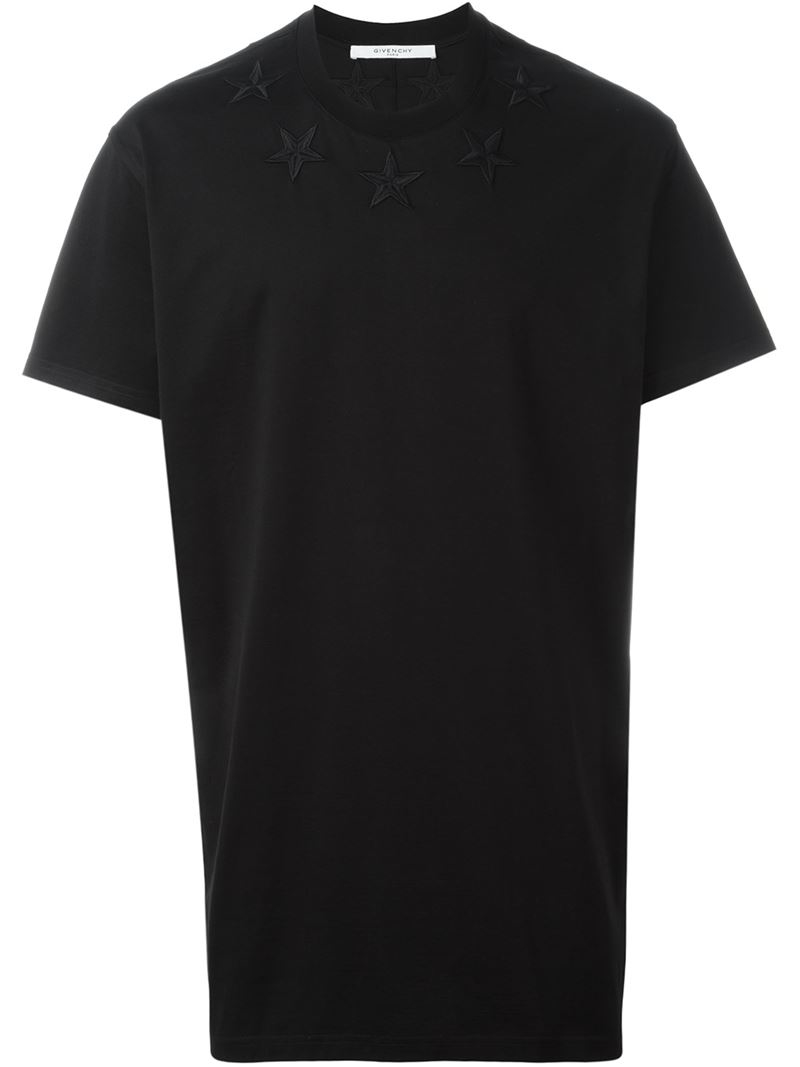 Givenchy embroidered star patch t shirt in black for men for Givenchy star t shirt