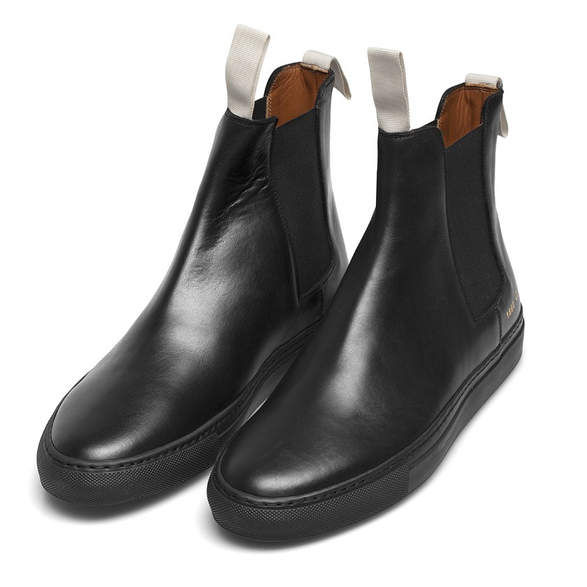 Common Projects Black Leather Trek Chelsea Boots In Black