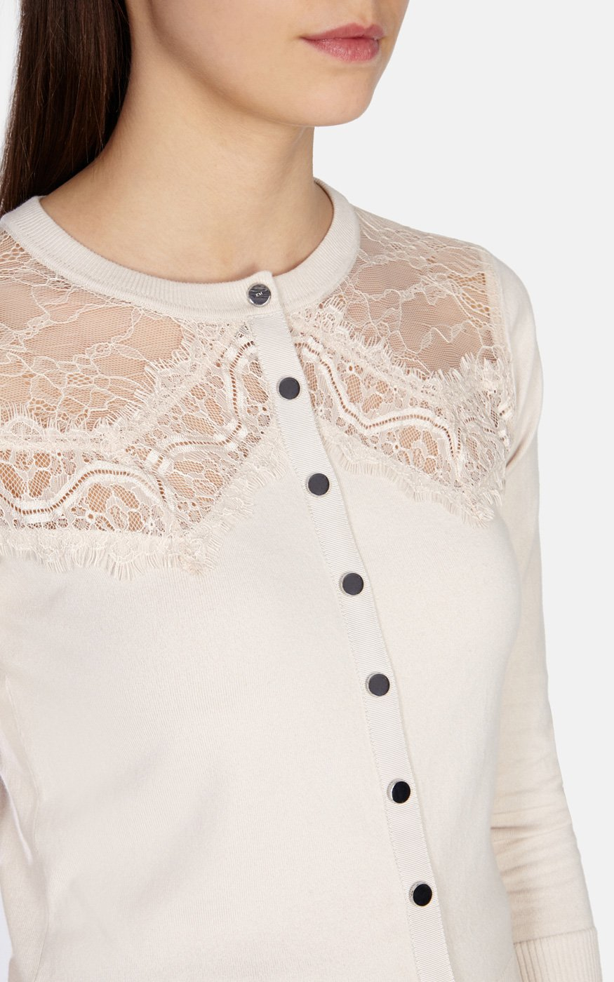 Karen millen Lace Panel Cardigan in Natural | Lyst