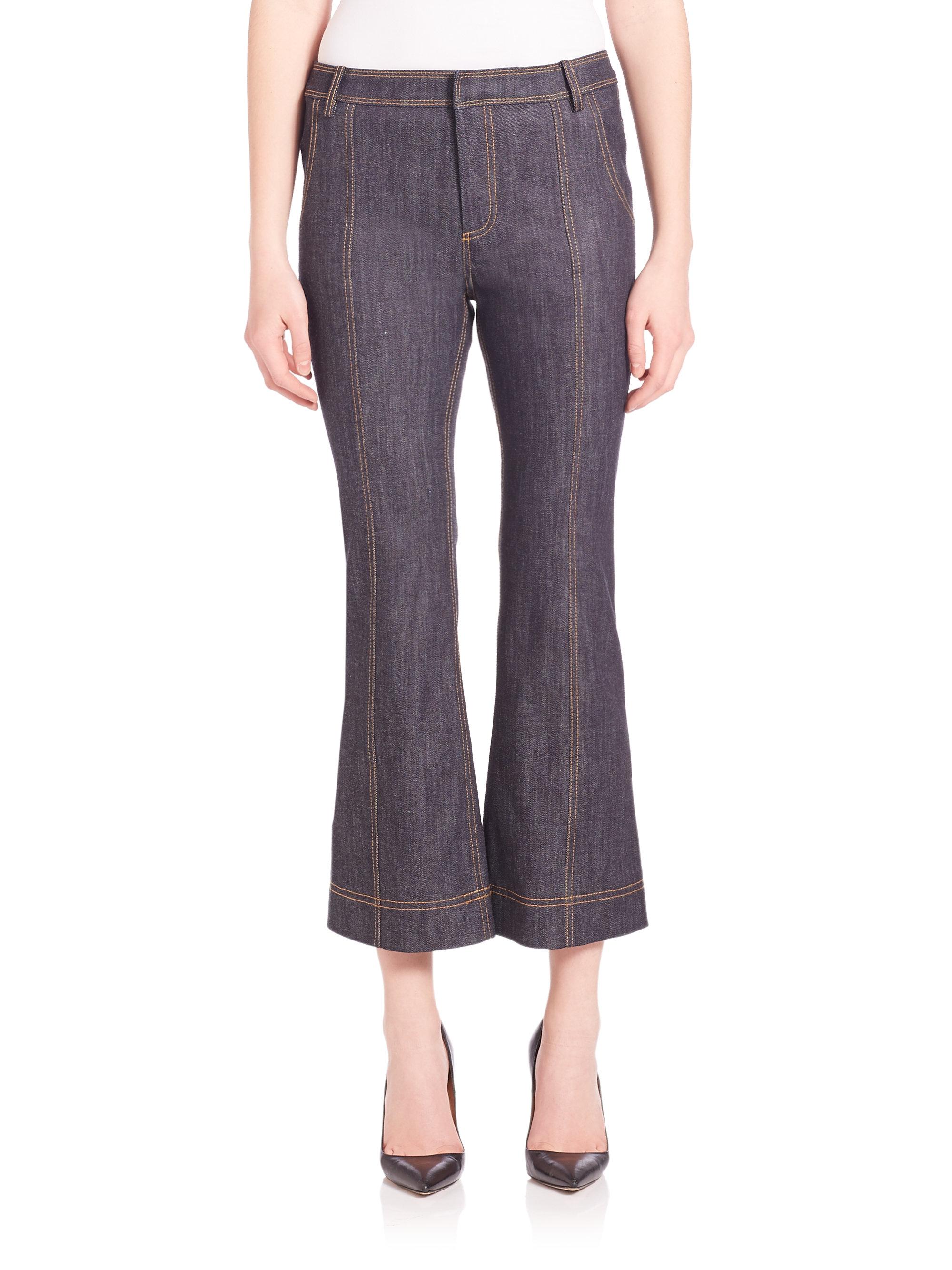 10 crosby derek lam cropped flare jeans in blue denim lyst. Black Bedroom Furniture Sets. Home Design Ideas