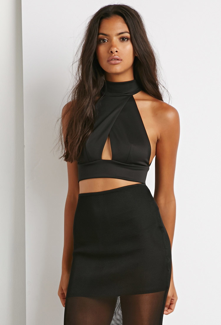 21 Best Images About Cute Boys On Pinterest: Forever 21 Cutout Halter Crop Top In Black