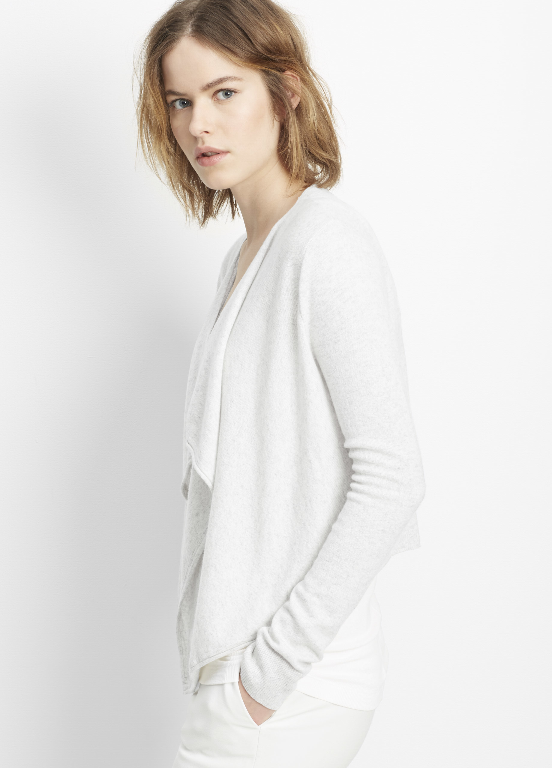 Vince Cashmere Drape Front Cropped Cardigan in Gray | Lyst