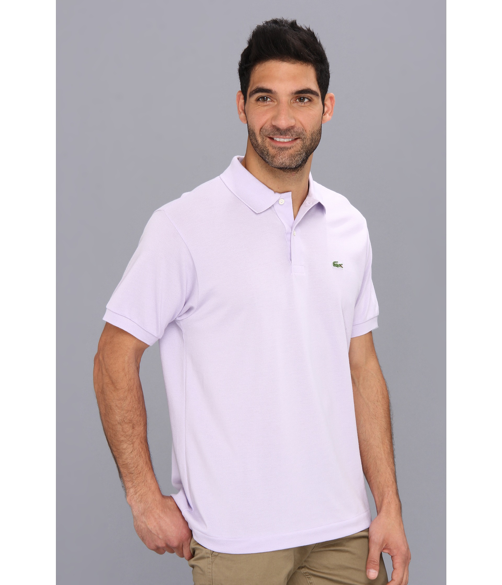 lacoste classic pique polo shirt in white for men iris. Black Bedroom Furniture Sets. Home Design Ideas